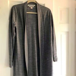 Merino wood gray long cardigan.